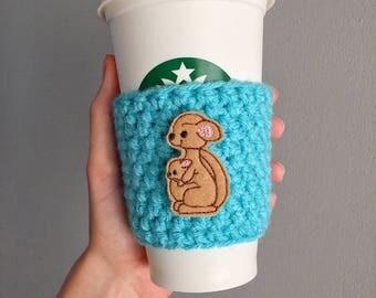 Kangaroo Cup Sleeve, Kangaroo Coffee Cozy, Kangaroo Gift