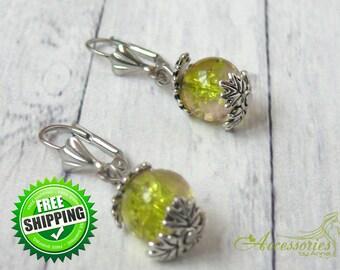 Xmas Green Beaded Earrings Green Drop Everyday Earring Glass Earrings Christmas Earring Holyday gift idea Drop Earrings Silver Leaf Earrings