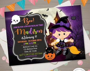 Witch Halloween Invitation, Halloween Birthday Invitation, Girls Halloween Invite, Witch Invitation Halloween Party Costume Party Invitation