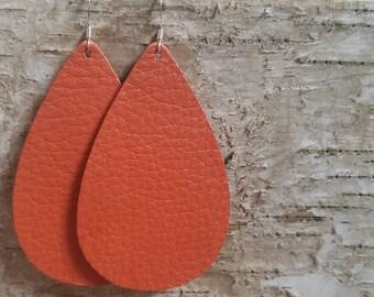 Burnt Orange teardrops | genuine leather | statement earrings | nickel free hooks