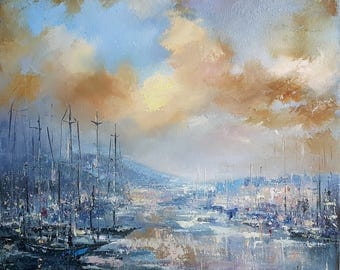 Painting Seascape Yachts in port, Original Oil Painting, Impressionist Art, Modern Art, Yacht Painting, art Wall decor Boats Yachts painting