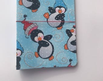 Fabric Travelers Notebook, Fabricdori TN, Fauxdori, Handmade Travelers Notebook, Fabric Notebook, Penguin, Christmas TN