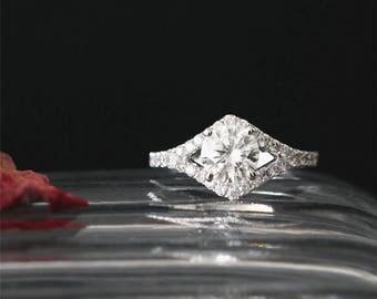 Vintage Moissanite Ring 6.5MM Round Cut Forever Classic Moissanite Engagement Ring Eternity Ring 14K White Gold Bridal Ring Brilliant Ring
