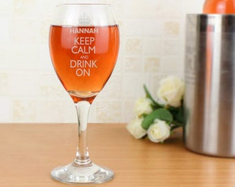Personalised Keep Calm Engraved Wine Glass Gifts Ideas For Men Women Red White Rose Lover Birthday Christmas Him Her Dad Mum Time