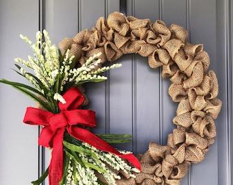 Farmhouse Burlap Wreath, Burlap Bubble Wreath, Red Ribbon, White Flowers