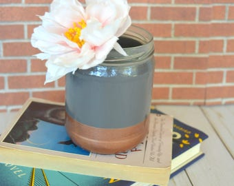 Gray and Copper Hand Painted Flower Vase made from Recycled Glass Jar