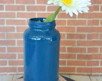 Blue Hand Painted Flower Vase made from Recycled Glass Jar