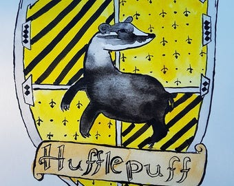 Original watercolor Harry Potter Hufflepuff