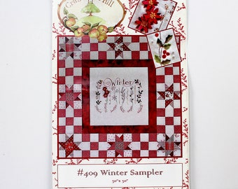 "Winter Sampler Pattern, Star Block, Embroidery Wool Appliqué, 30' x 30"" Quilt Pattern, Sewing Pattern, Crab-Apple Hill #409, Poinsettia"