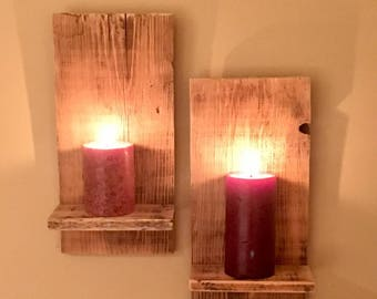 Reclaimed Wood Wall Sconces / Candle Sconces