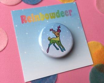 Cute Christmas Reinbowdeer 32mm button badge stocking filler *reindeer* *rainbow* *pin* *holidays*