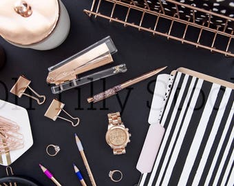 Flat Lay Photo | Black Styled Desktop | Rose Gold Product Photography | Social Media Photo | Instagram Images | Styled Stock Photo
