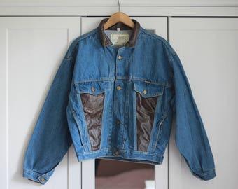 Denim Jacket Leather Jeans Classic Vintage Medium Blue Indigo Brown Retro 1980s Oldschool Women Men Unisex Top Oversize / Extra Large