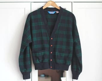 Vintage Sweater Thick Bolero Green Navy Checked Top Longsleeve Women Girly Winter Autumn Cardigan