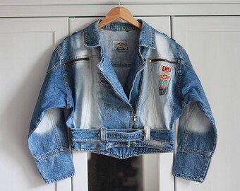 90s Vintage blue denim jacket Retro 1990 look Short jacket Crop top Oldschool women jeans clothing / Large size