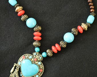 Tibetan Silver Texture & Heart Turquoise Chunky Necklace