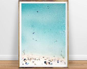 Aerial Beach Photography People on Beach Print Beach Art, Coastal Wall Decor, Printable Poster, Digital Print, Digital Download, Water