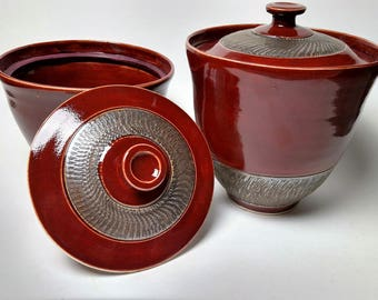 Hand Thrown Lidded Stoneware Jar Set