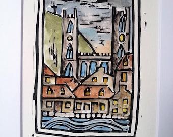 Basilique Notre Dame, Montreal,  Hand Watercolored Linocut Print by Richard Audet
