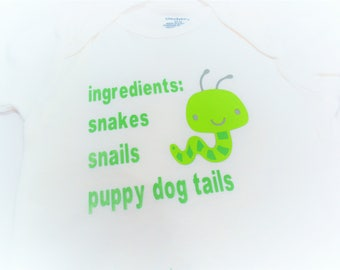 Baby Onesie 'Little Boy Ingredients' Snakes, Snails, Puppy Dog Tails  ~ Infant ~  Onesie Multiple Sizes Available Image Color is Your Choice