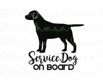 Service Dog on Board | Labrador Retriever | 6in Vinyl Decal | ICE Sticker | In Case of Emergency