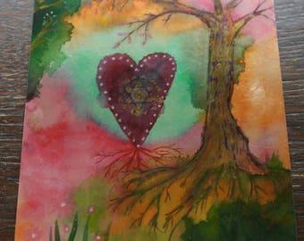 Art Metallic Postcard Watercolour Tree Affirmation Meditation A6