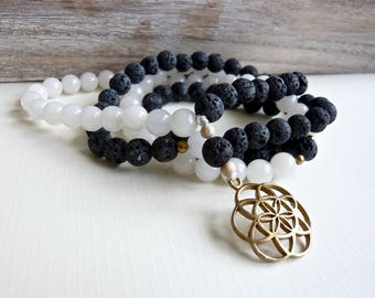 Yoga Mala 108 beads, strung pearls, natural gemstones and raw brass, flower of life