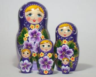 "Russian nesting dolls, 5.9"" purple flowers, nesting dolls for kids, matryoshka doll, gift for mom, russian toys, matryoshka babushka"