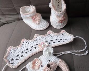 Booties, rattle, head band, cotton, crochet, 100% original Creations