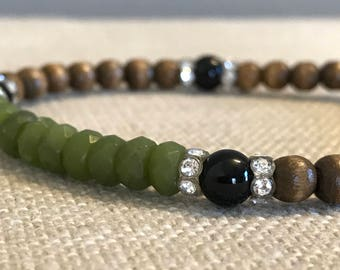 Jade and Upcycled Wooden Bead Bracelet