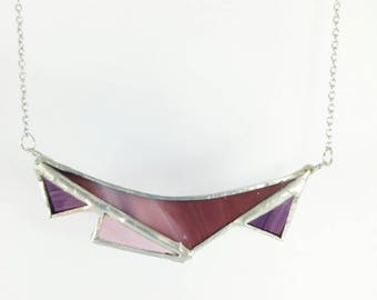 Purple stained glass necklace
