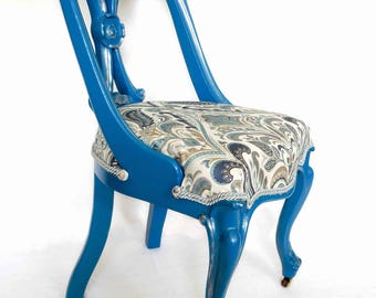 Beautiful blue side chair with silver gilt edging