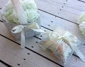 Silver sequin flower girl basket and ring pillow