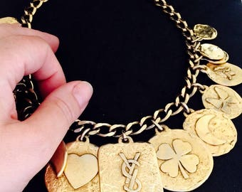 Collier YSL vintage with charms and coins