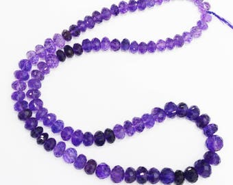 AAA quality Natural Amethyst Faceted Beads  / 7.0-10.0 mm / 20 inch