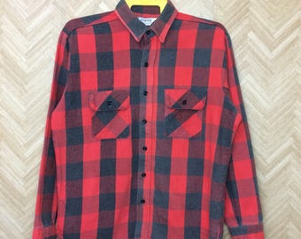 Free shipping 90s FIVE BROTHERS Flannel button down long sleeve