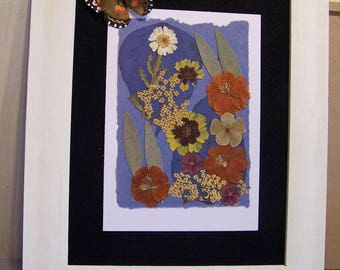 Framed Flower Collage - Framed Artwork - Pressed Garden Flowers - Framed Collage