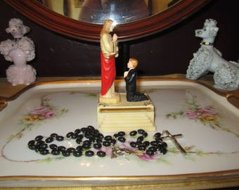 Beautiful First Communion hard plastic Rosary holder with Rosary