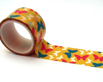 Washi tape - 20 mm - turquoise, pink and white butterflies - yellow background