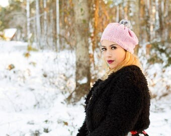 Knitted Beret Hat with Fur Pom Pom