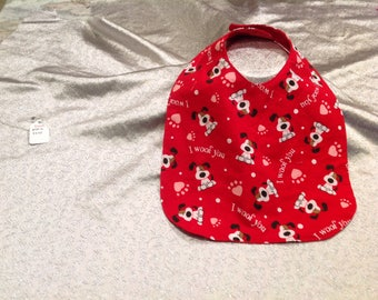 Red dog baby bib