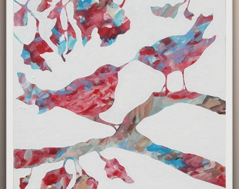 Abstract Painting, Original Painting Bird Tree Abstract,  Fine Art on Canvas by Lara Wonderland