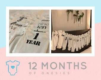 First Year Onesie Set - 12 Onesies - Gender Neutral - Baby Shower Gift