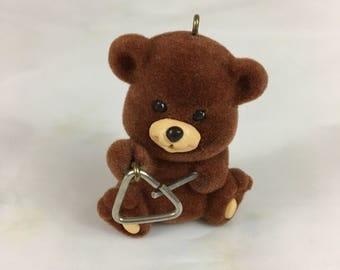 "Vintage Hallmark Keepsake Christmas Ornament ""Bear-I-Tone"" / dated 1989 / fuzzy bear playing the triangle / musical bear / band / orchestra"