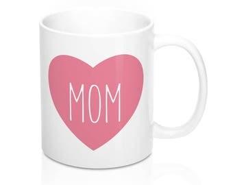 Mother's Day Coffee Mug, Love Mom Mug, Love Mug, Heart Mug, Pink Heart Mug, Valentine's Day Mug, Mom Gift, Mother's Day Gift, Birthday Gift