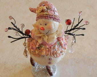 Pink Shabby Chic Bejeweled Christmas Ornament Snowman