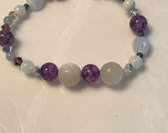 Healing relief from emotional stress, calms nervousness / blue lace agate , moonstone - purple stripe agate