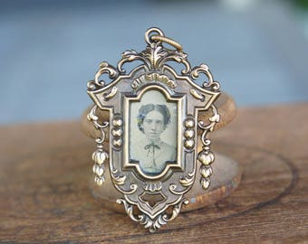 French Brass Stamping Ornate Baroque Frame with 1860s Original Tintype Photo of a Young Woman Pendant Handmade Supply