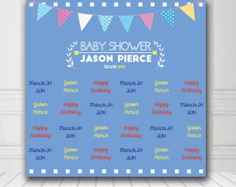 Baby Shower Backdrop - Custom Baby Shower Photo Booth Backdrop Digital/Vinyl Printed - FREE SHIPPING CANADA