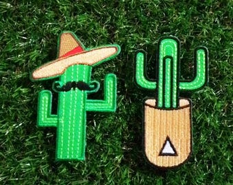 Set 2 pcs. Cactus cartoon iron on patch.